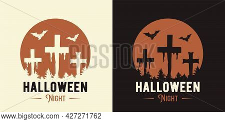 Halloween Cemetery Crosses Of Undead For Print