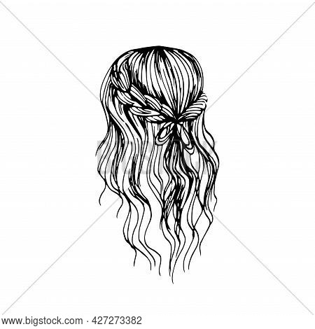 Beautiful Long Wavy Hair Hairstyle Isolated On White.