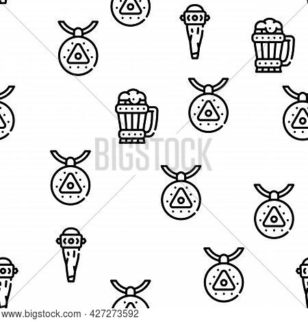 Viking Ancient Culture Vector Seamless Pattern Thin Line Illustration
