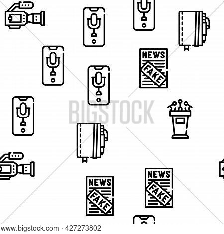 Journalist Accessories Vector Seamless Pattern Thin Line Illustration