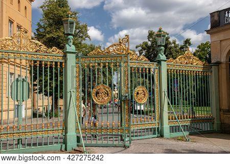 Potsdam, Germany - Jul 19, 2021. Exit Gate From Sanssouci Palace Park In Potsdam Towards Louisenplat