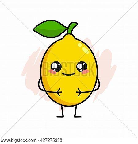 Cartoon Of Cute Lemon Character Design, Lemon Icon Illustration Template Vector