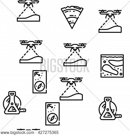 Geodesy Equipment Vector Seamless Pattern Thin Line Illustration