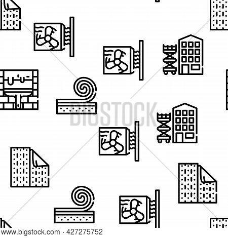 Home Renovation Repair Vector Seamless Pattern Thin Line Illustration
