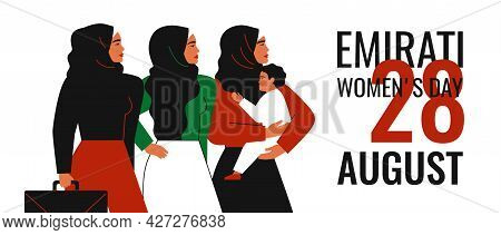 Emirati Women's Day Greeting Card. Muslim Mother With Child, Businesswoman And Arabian Girl In Hijab