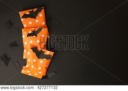 Happy Halloween Holiday Concept. Creative Idea Handmade Papaercraft Decoration Of Traditional Candy