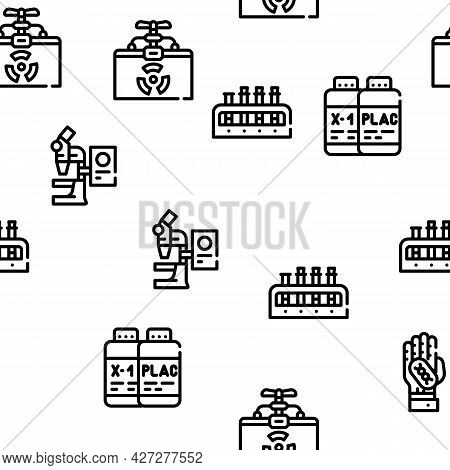 Vaccine Production Vector Seamless Pattern Thin Line Illustration