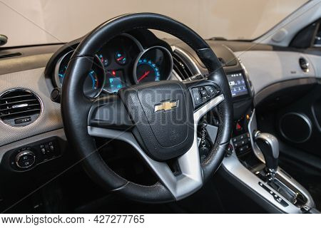 Novosibirsk, Russia - July 07, 2021:   Chevrolet Cruze, Modern Car Interior View With Dashboard, Mul