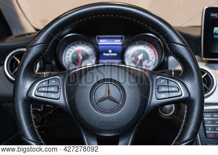 Novosibirsk, Russia - July 07, 2021:   Mercedes-benz Gla-class, Modern Car Interior View With Dashbo