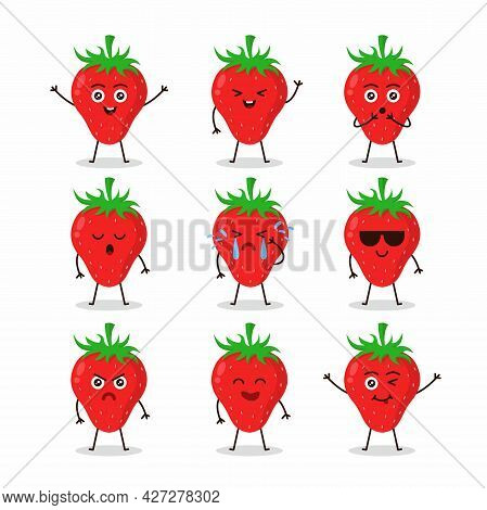 Cute Strawberry Fruit Character Set Illustration Design, Collection Of Cute Strawberry Mascot Templa