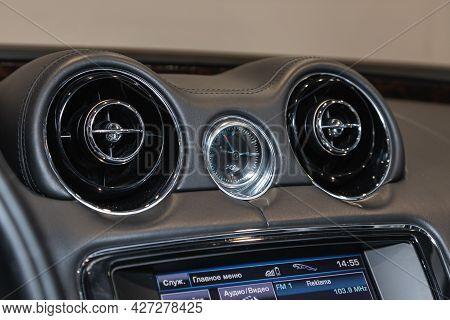 Novosibirsk, Russia - July 07, 2021:   Jaguar Xj , Close Up Deflector,  Car Ventilation System. Car