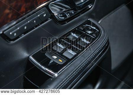 Novosibirsk, Russia - July 07, 2021:   Jaguar Xj , Interior Of Modern Car. Side Door Buttons: Window