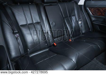 Novosibirsk, Russia - July 07, 2021:   Jaguar Xj , Comfort Car Inside. Clean Car Interior: Black Bac