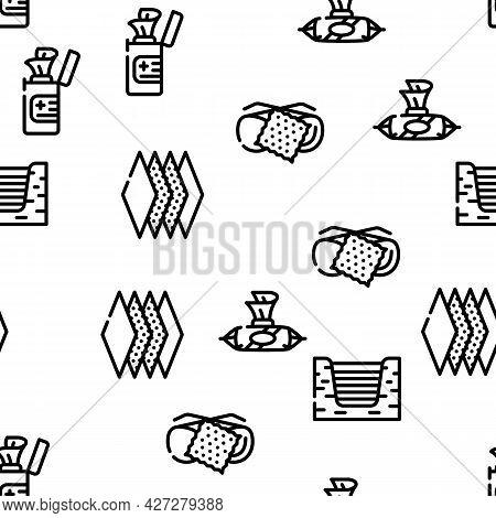 Wipe Hygiene Accessory Vector Seamless Pattern Thin Line Illustration
