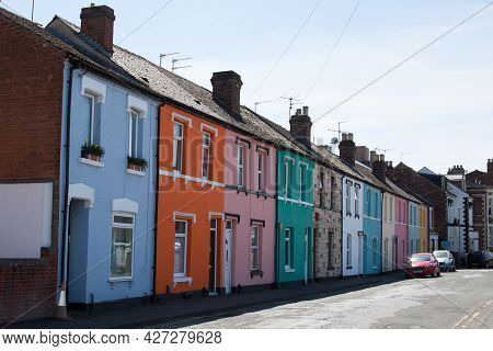 Rows Of Multi Colored Housing In Gloucester In The United Kingdom, Taken On The 24th April 2021