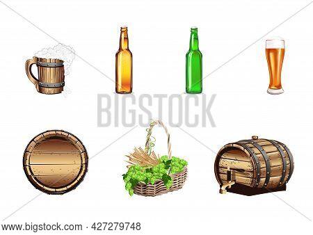 Set Of Realistic Illustrations Of Beer Barrel, Beer Glass, Glass, Bottle, Basket With Hops And Malt.