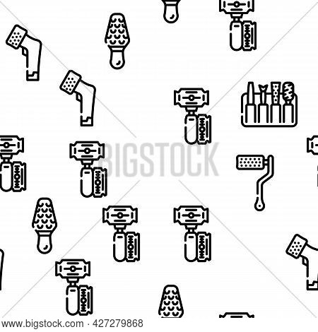 Callus Remover Tool Vector Seamless Pattern Thin Line Illustration