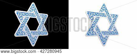 Blue Ornamental Tracery Magen David Isolated - Cgi Object 3d Rendering