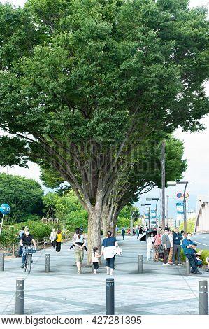 Fuji City, Shizuoka-ken, Japan - June 24, 2021: Tokyo 2020 Olympic Torch Relay In Fuji City. Several