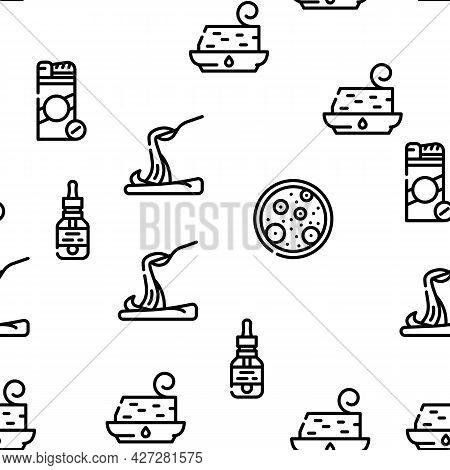 Food Additives Formula Vector Seamless Pattern Thin Line Illustration