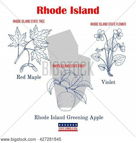 Rhode Island. Set Of Usa Official State Symbols. Vector Hand Drawn Illustration