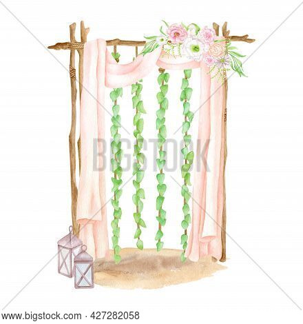 Watercolor Wood Wedding Arch With Hanging Ivy Leaves Garlands, Flowers, Lanterns And Pastel Curtains