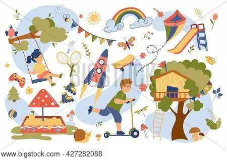 Playground Concept Isolated Elements Set. Collection Of Girl Riding Swing, Boy Riding Scooter, Games