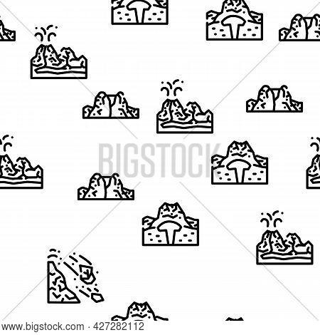 Volcano Lava Eruption Vector Seamless Pattern Thin Line Illustration