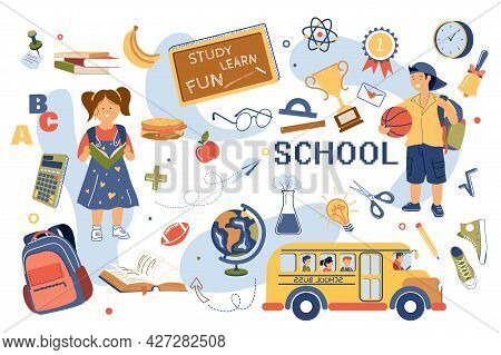 Study At School Concept Isolated Elements Set. Collection Of Girl Reads Textbook, Boy With Ball, Sch