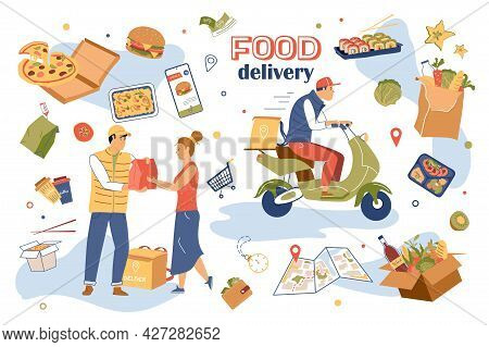 Food Delivery Concept Isolated Elements Set. Collection Of Courier Delivers Order To Woman, Man Carr