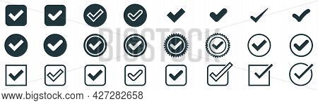 Black Checkmark Collection. Isolated Checkmark Tick. Transparent Confirm Sign. Positive Symbol. Yes