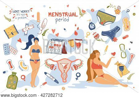 Menstrual Period Concept Isolated Elements Set. Collection Of Women With Periods, Underwear, Hygieni