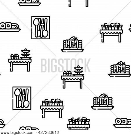 Buffet Food And Drinks Vector Seamless Pattern Thin Line Illustration
