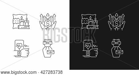 Lifestyle Tendencies Linear Icons Set For Dark And Light Mode. Hygge Life. Wealth Building. Health T