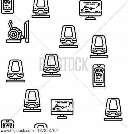 Railroad Transport Vector Seamless Pattern Thin Line Illustration