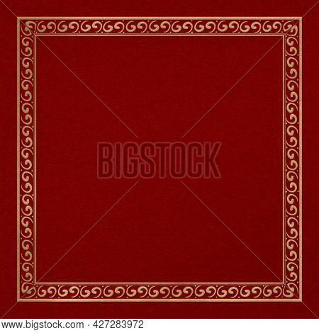 Chinese frame oriental pattern gold square in Chinese New Year theme