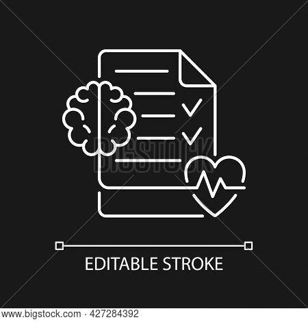 Mental Health Awareness White Linear Icon For Dark Theme. Defeating Illness Stigma. Thin Line Custom