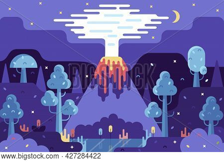 Vector Cartoon Illustration - Night Landscape With Smoky Volcano, Lake And Trees Under The Starry Sk