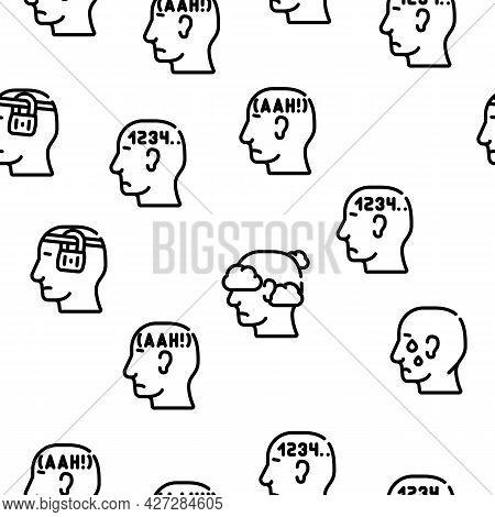 Neurosis Brain Problem Vector Seamless Pattern Thin Line Illustration