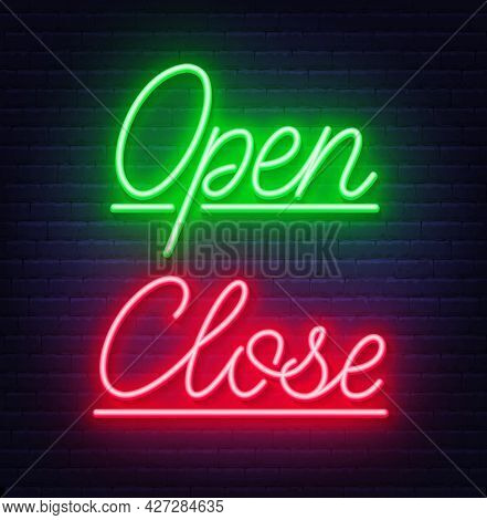 Neon Sign Open And Close On Brick Wall Background.