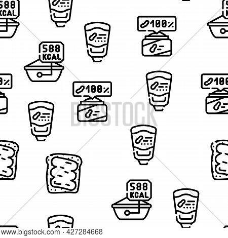 Peanut Butter Food Vector Seamless Pattern Thin Line Illustration