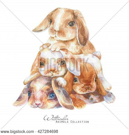 Baby Bunnies Watercolor Illustration. Rabbits Pile. Cute Bunny Family