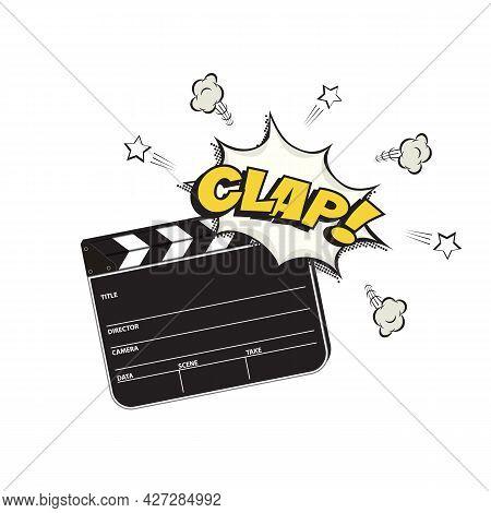 Cinema Clapper Board Making Clap Sound. Filming Movie Or Video Clapboard Vector Illustration. Black