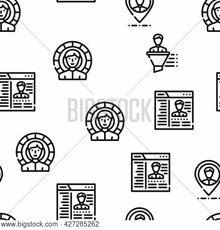 Kyc Know Your Customer Vector Seamless Pattern Thin Line Illustration