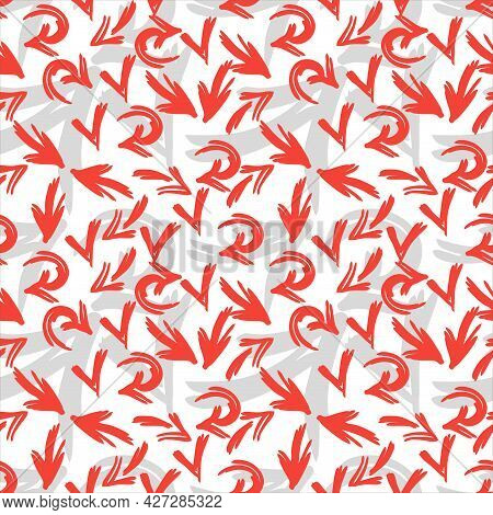 Red And Grey Arrows Seamless Pattern. Hand Drawn Vector Background.