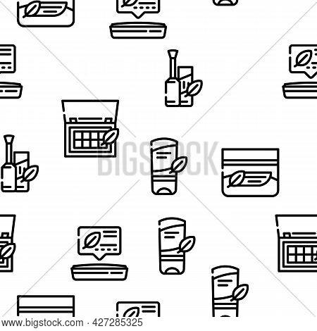 Organic Cosmetics Vector Seamless Pattern Thin Line Illustration