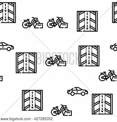 Parking Transport Vector Seamless Pattern Thin Line Illustration