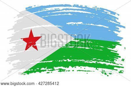Djibouti Flag In Grunge Brush Stroke, Vector