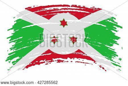 Burundi Flag In Grunge Brush Stroke, Vector