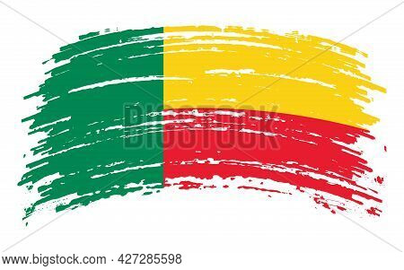 Benin Flag In Grunge Brush Stroke, Vector